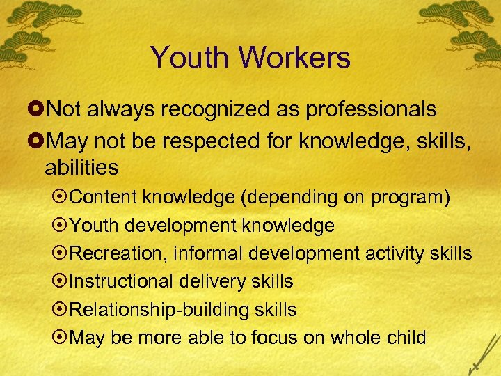 Youth Workers £Not always recognized as professionals £May not be respected for knowledge, skills,