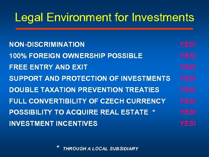 Legal Environment for Investments NON-DISCRIMINATION YES! 100% FOREIGN OWNERSHIP POSSIBLE YES! FREE ENTRY AND