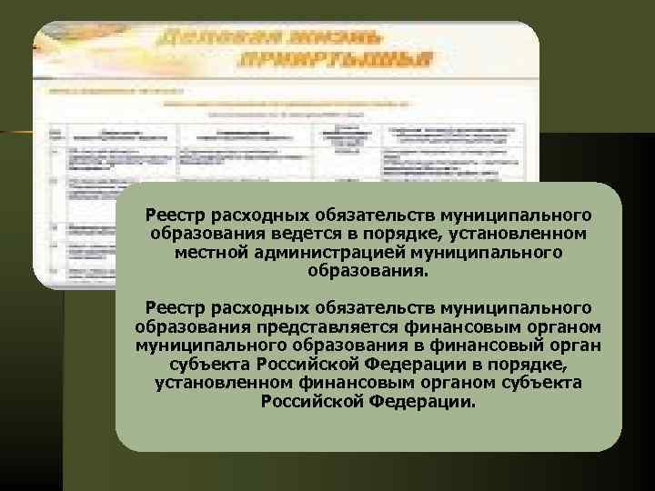 Реестр расходных обязательств муниципального образования ведется в порядке, установленном местной администрацией муниципального образования. Реестр