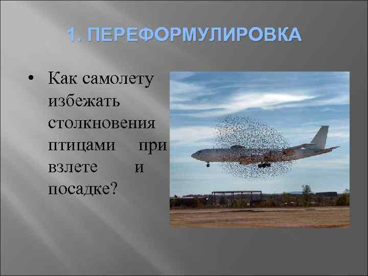 1. ПЕРЕФОРМУЛИРОВКА • Как самолету избежать столкновения с птицами при взлете и посадке?