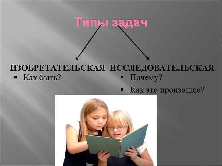 Типы задач ИЗОБРЕТАТЕЛЬСКАЯ ИССЛЕДОВАТЕЛЬСКАЯ § Как быть? § Почему? § Как это произошло?