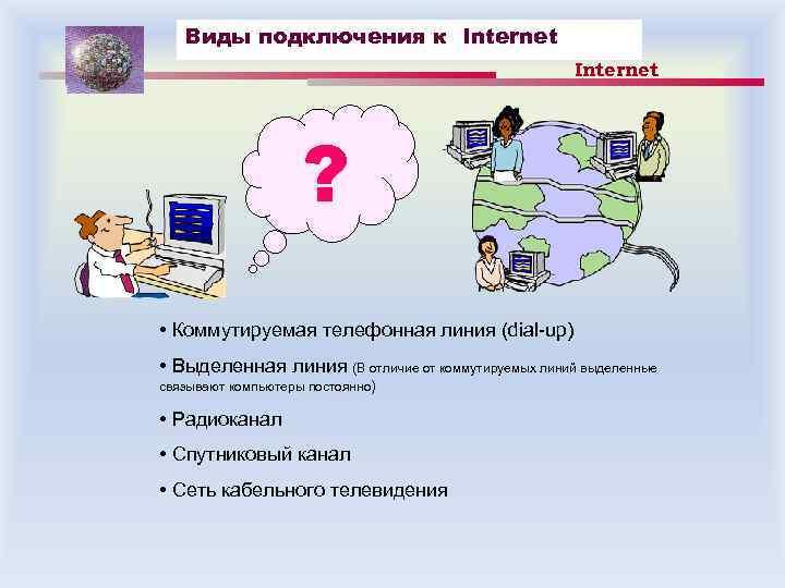 Виды подключения к Internet ? • Коммутируемая телефонная линия (dial-up) • Выделенная линия (В