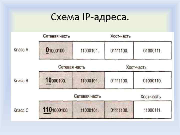 Схема IP-адреса.