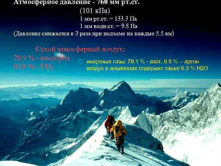 Атмосферное давление - 760 мм рт. ст. (101 к. Па) 1 мм рт. ст.
