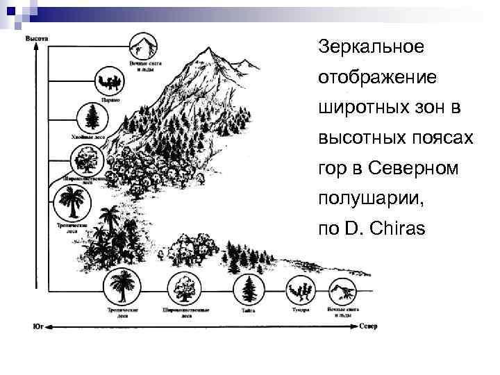 Зеркальное отображение широтных зон в высотных поясах гор в Северном полушарии, по D. Chiras