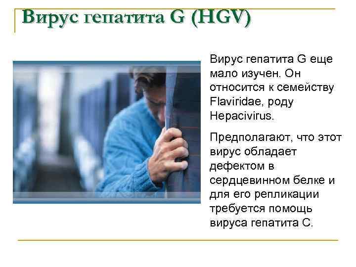 Вирус гепатита G (HGV) Вирус гепатита G еще мало изучен. Он относится к семейству