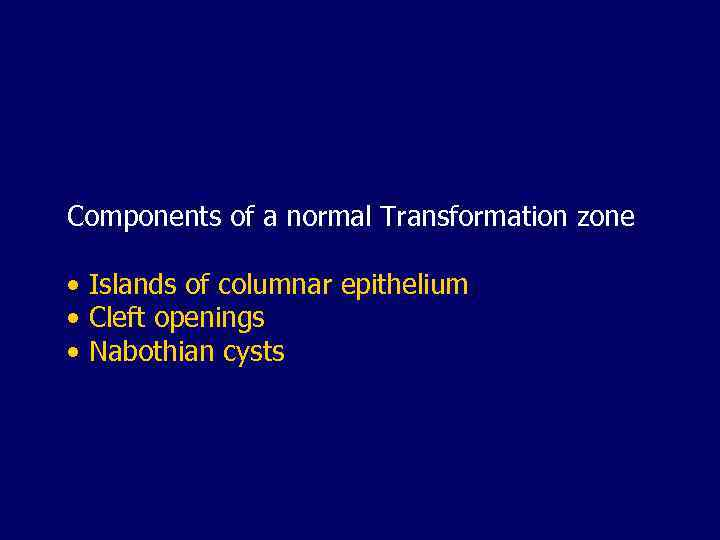 Components of a normal Transformation zone • Islands of columnar epithelium • Cleft openings