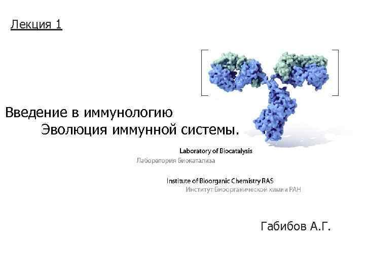 Лекция 1 Введение в иммунологию Эволюция иммунной системы. Габибов А. Г.