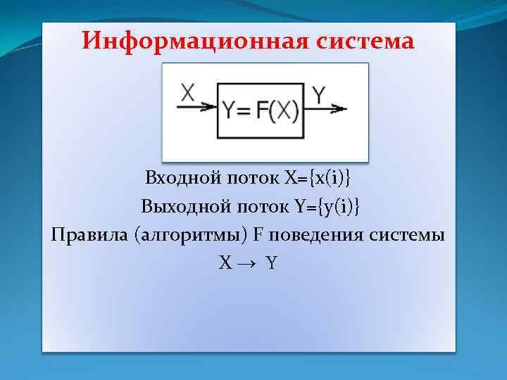 Информационная система Входной поток X={x(i)} Выходной поток Y={y(i)} Правила (алгоритмы) F поведения системы X