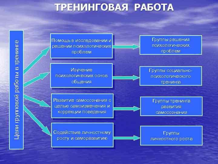 Цели групповой работы в тренинге ТРЕНИНГОВАЯ РАБОТА Помощь в исследовании и решении психологических проблем