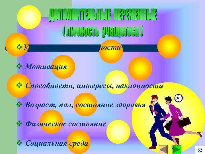v. Уровень подготовленности v Мотивация v Способности, интересы, наклонности v Возраст, пол, состояние здоровья