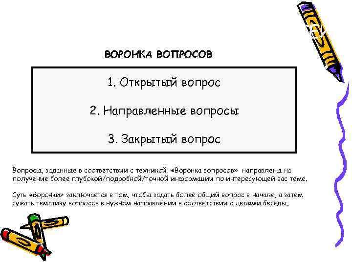 ВЫЯВЛЕНИЕ ПОТРЕБНОСТЕЙ ВОРОНКА ВОПРОСОВ 1. Открытый вопрос 2. Направленные вопросы 3. Закрытый вопрос Вопросы,