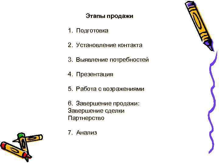 Этапы продажи 1. Подготовка 2. Установление контакта 3. Выявление потребностей 4. Презентация 5. Работа