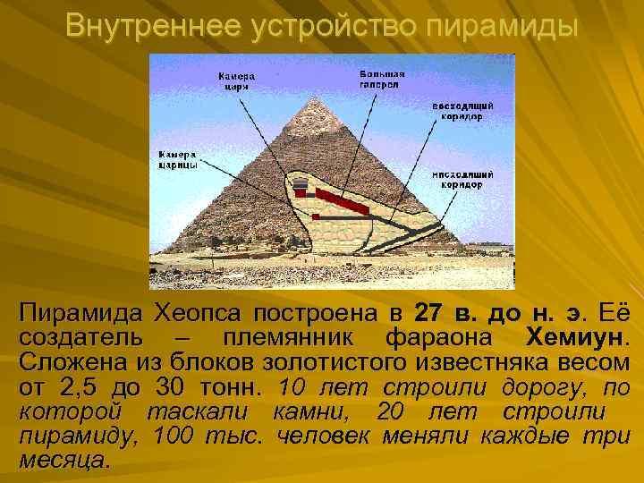 Внутреннее устройство пирамиды Пирамида Хеопса построена в 27 в. до н. э. Её создатель