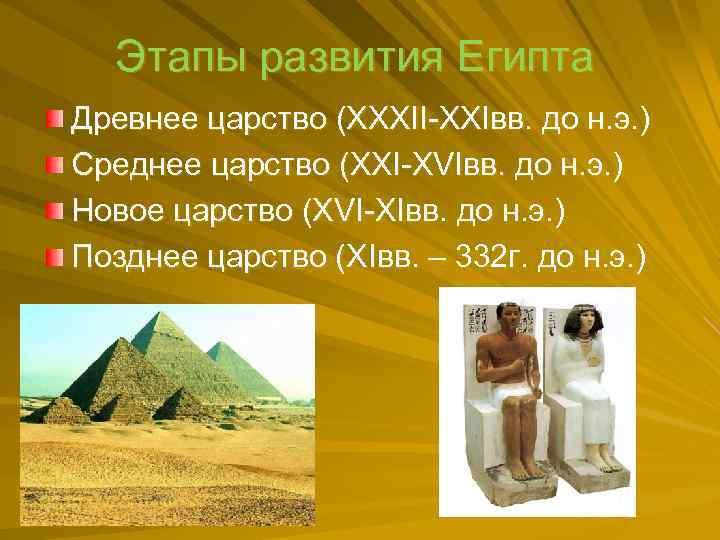 Этапы развития Египта Древнее царство (XXXII XXIвв. до н. э. ) Среднее царство (XXI
