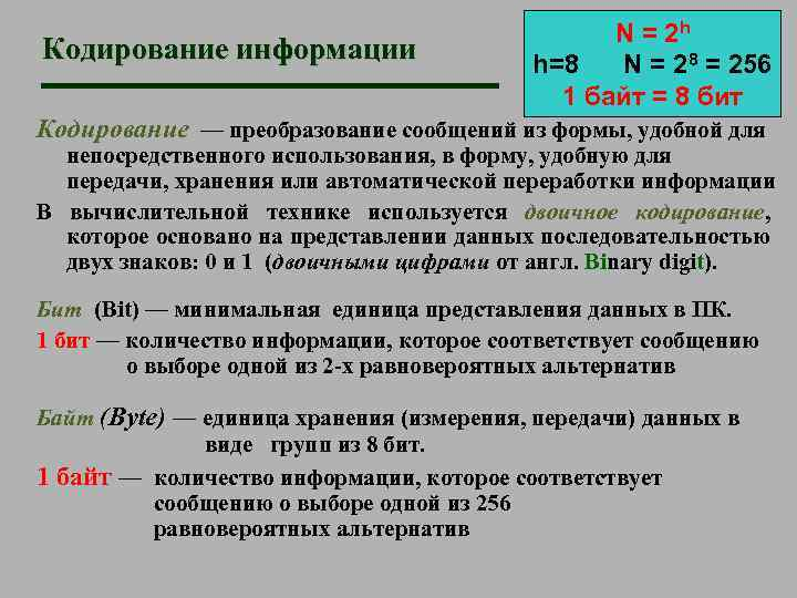 Кодирование информации N = 2 h h=8 N = 28 = 256 1 байт