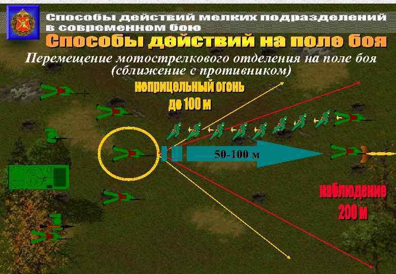 Перемещение мотострелкового отделения на поле боя (сближение с противником) 50 -100 м