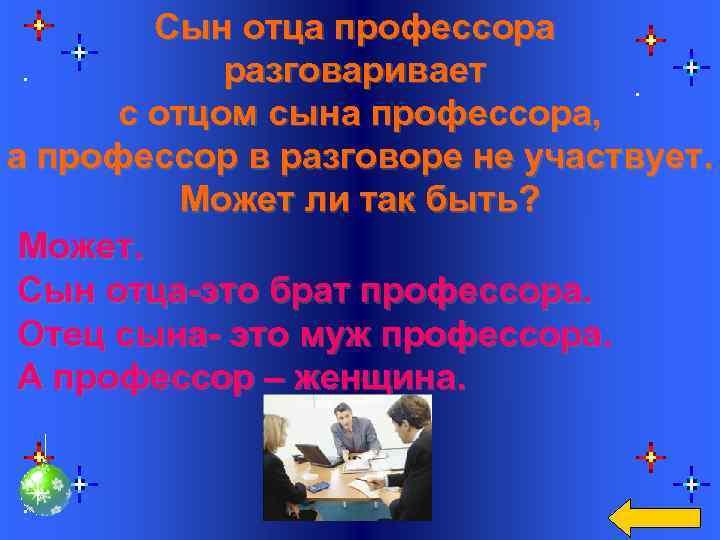 Сын отца профессора разговаривает с отцом сына профессора, а профессор в разговоре не участвует.