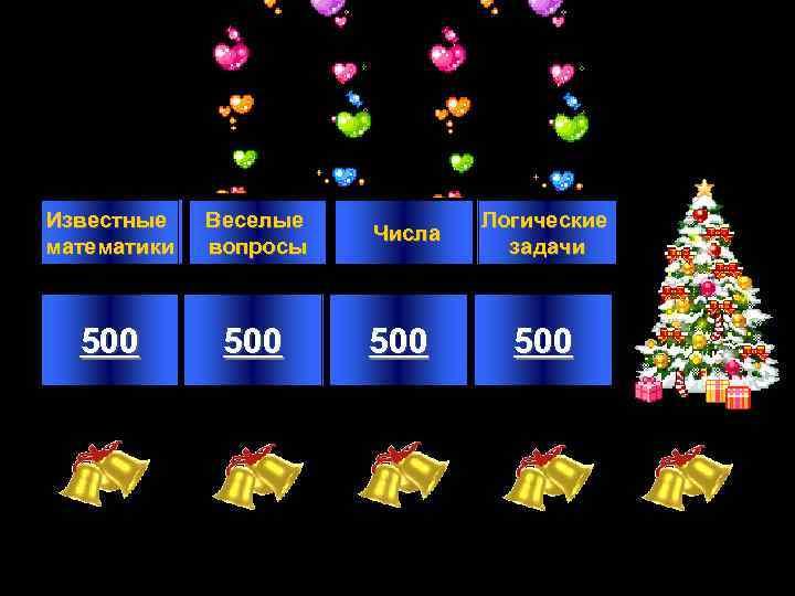 Известные математики Веселые вопросы 500 Числа 500 Логические задачи 500