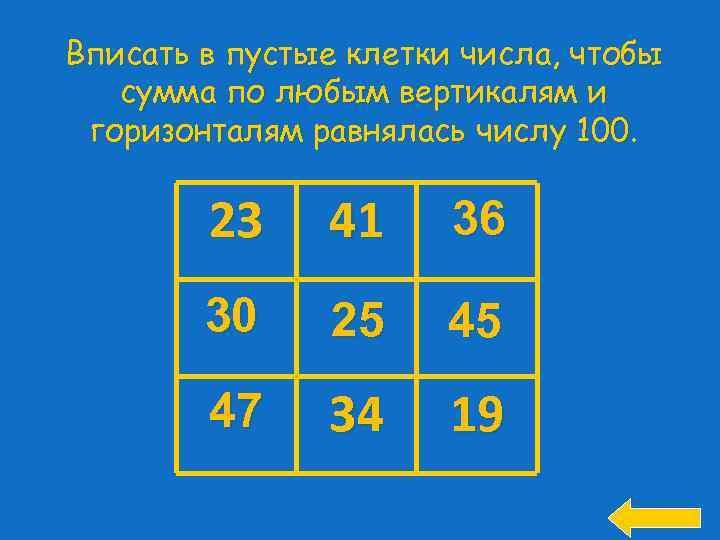Вписать в пустые клетки числа, чтобы сумма по любым вертикалям и горизонталям равнялась числу
