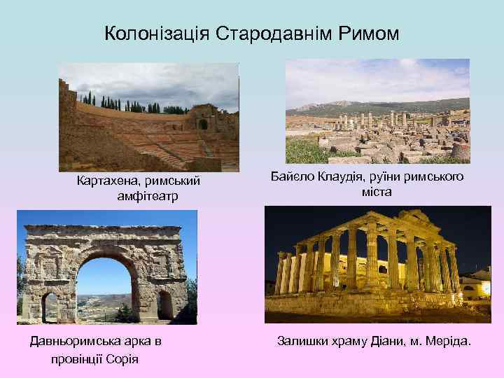 Колонізація Стародавнім Римом Картахена, римський амфітеатр Давньоримська арка в провінції Сорія Байєло Клаудія, руїни