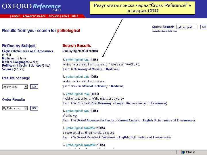 """Результаты поиска через """"Cross Reference"""" в словарях ORO"""