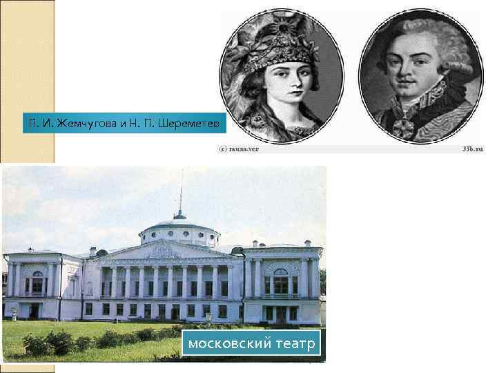 П. И. Жемчугова и Н. П. Шереметев московский театр