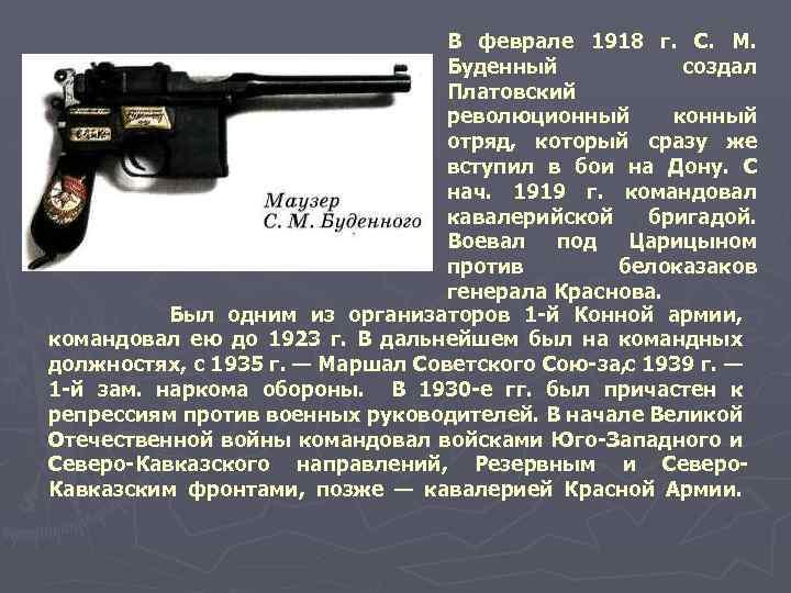 В феврале 1918 г. С. М. Буденный создал Платовский революционный конный отряд, который сразу