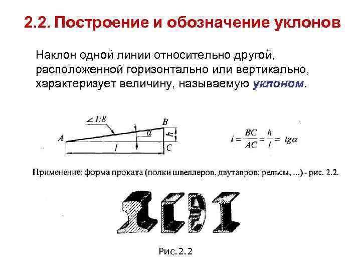 2. 2. Построение и обозначение уклонов Наклон одной линии относительно другой,  расположенной горизонтально