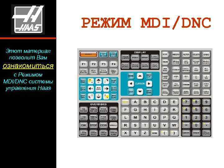 РЕЖИМ MDI/DNC Этот материал позволит Вам ознакомиться с Режимом MDI/DNC