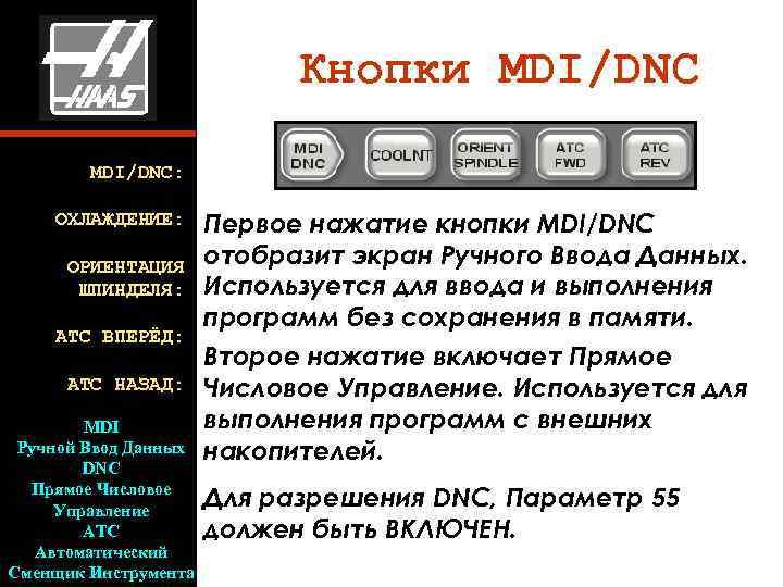 Кнопки MDI/DNC   MDI/DNC:  ОХЛАЖДЕНИЕ: