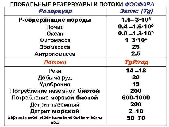 ГЛОБАЛЬНЫЕ РЕЗЕРВУАРЫ И ПОТОКИ ФОСФОРА   Резервуар     Запас
