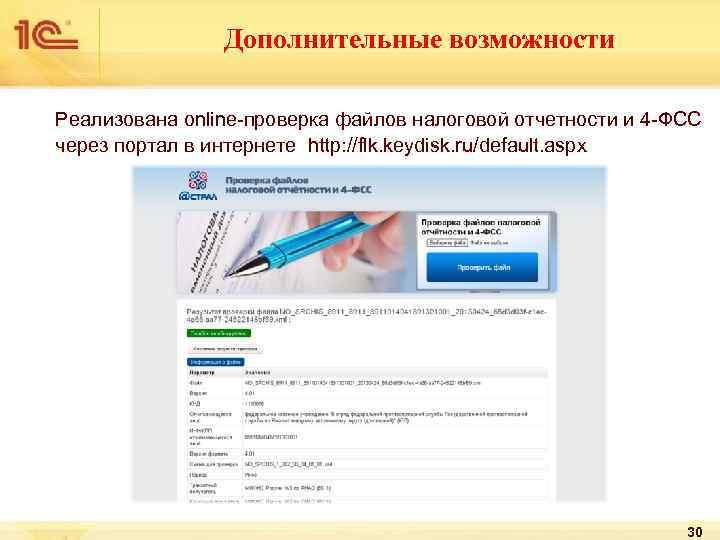 Дополнительные возможности Реализована online-проверка файлов налоговой отчетности и 4 -ФСС