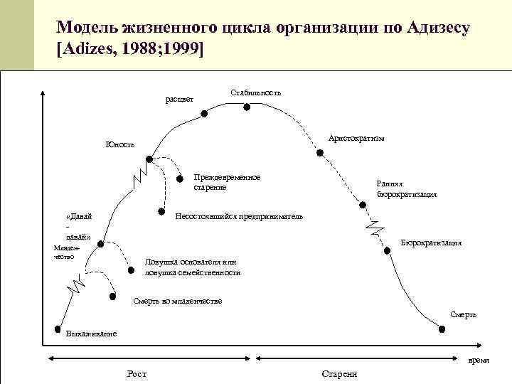 Модель жизненного цикла организации по Адизесу  [Adizes, 1988; 1999]