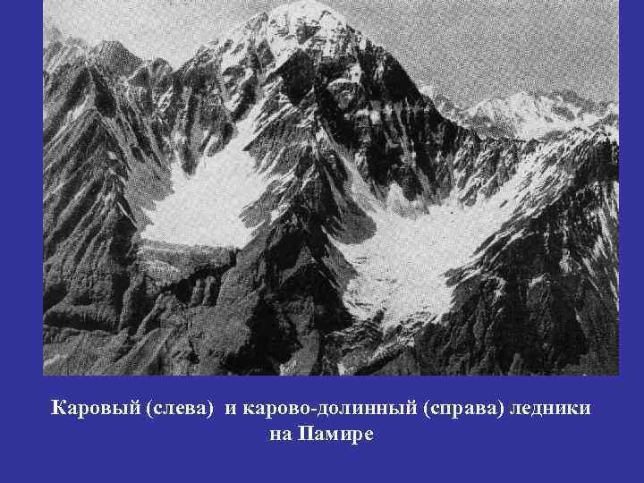Каровый (слева) и карово-долинный (справа) ледники     на Памире