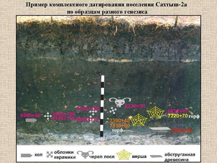 Пример комплексного датирования поселения Сахтыш-2 а   по образцам разного генезиса