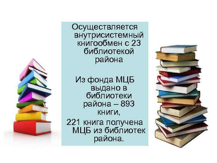 Осуществляется внутрисистемный  книгообмен с 23 библиотекой  района  Из фонда МЦБ