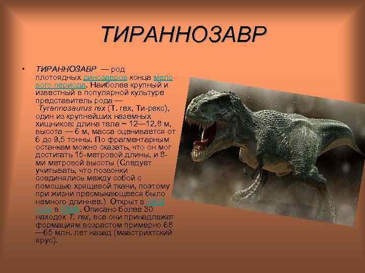 ТИРАННОЗАВР •  ТИРАННОЗАВР — род ТИРАННОЗАВР плотоядных динозавров конца