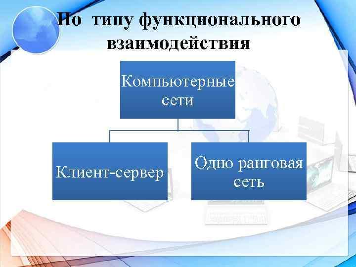 По типу функционального  взаимодействия  Компьютерные   сети    Одно
