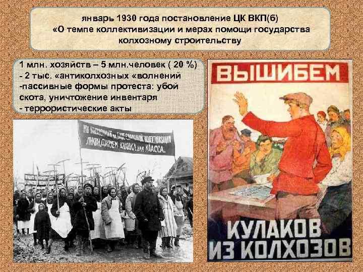 январь 1930 года постановление ЦК ВКП(б)   «О темпе коллективизации