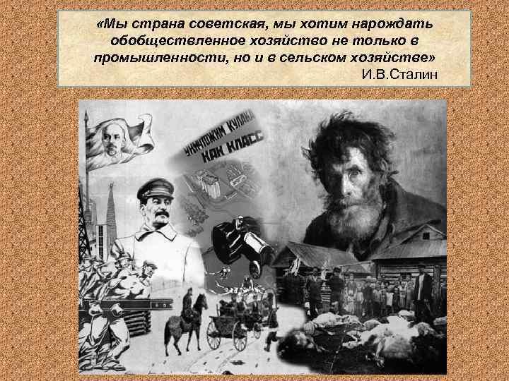 «Мы страна советская, мы хотим нарождать  обобществленное хозяйство не только в промышленности,