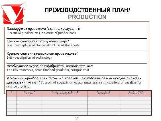 ПРОИЗВОДСТВЕННЫЙ ПЛАН/      PRODUCTION Планируется