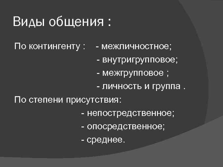 Виды общения : По контингенту :  - межличностное;    - внутригрупповое;