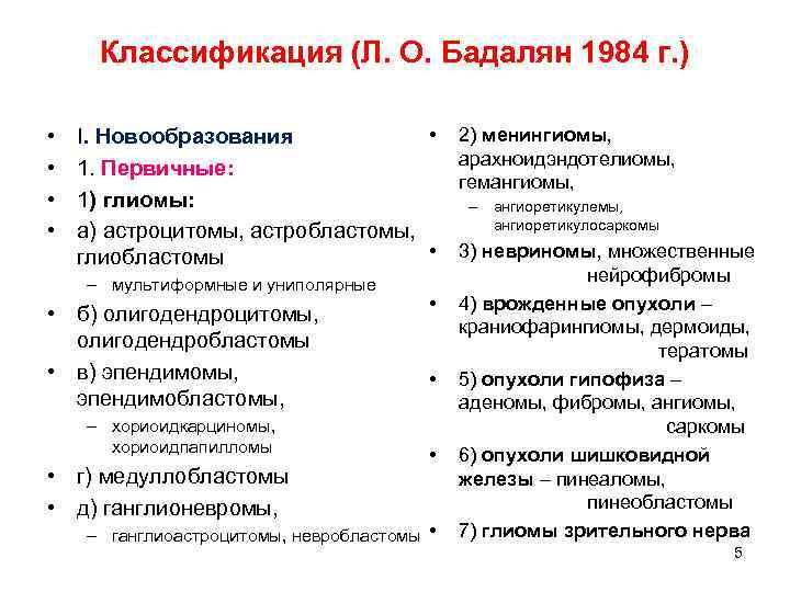 Классификация (Л. О. Бадалян 1984 г. )  •  I. Новообразования