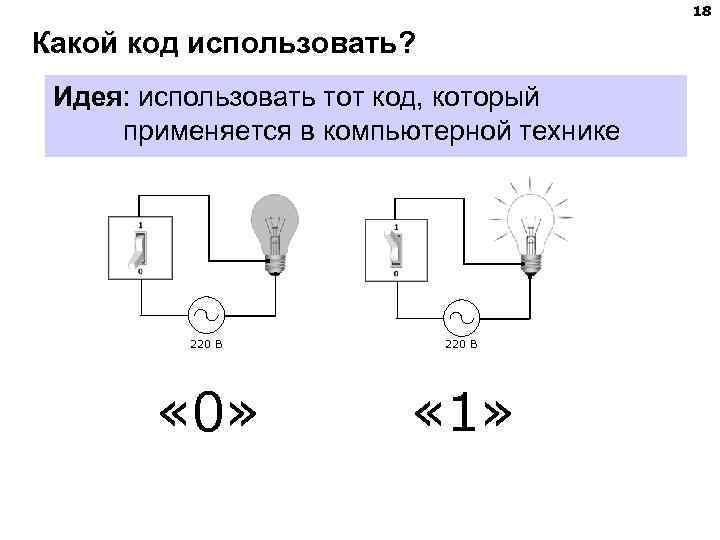 18 Какой код использовать?  Идея: использовать