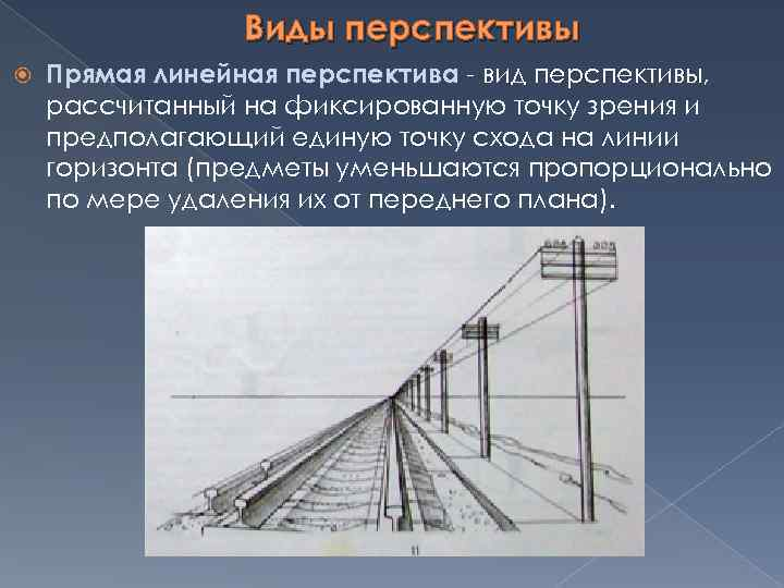 Виды перспективы Прямая линейная перспектива - вид перспективы, рассчитанный на