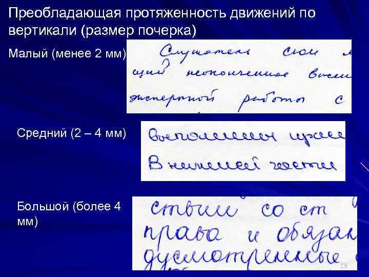 Преобладающая протяженность движений по вертикали (размер почерка) Малый (менее 2 мм) Средний (2 –