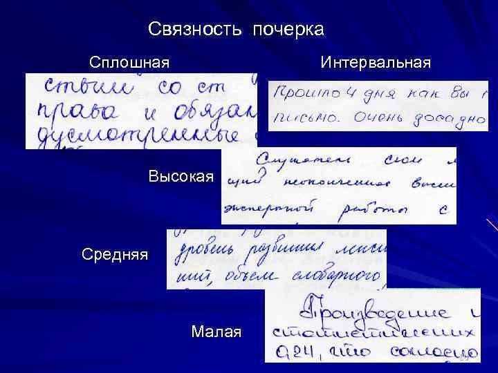 Связность почерка Сплошная   Интервальная  Высокая  Средняя