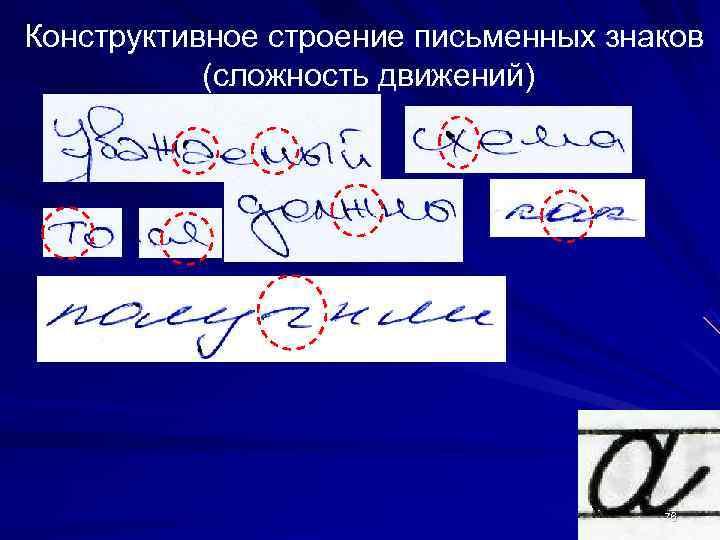 Конструктивное строение письменных знаков  (сложность движений)    76