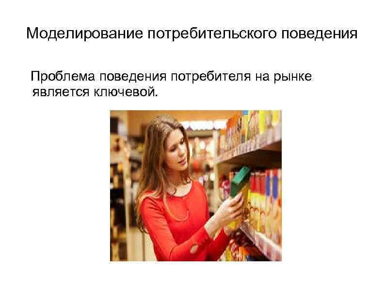 Моделирование потребительского поведения Проблема поведения потребителя на рынке является ключевой.